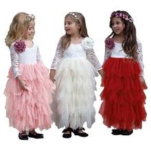 2019 Hot Sale Fashion Children's Layered Dress Lace Long Sleeve O-neck Mesh Dress Kids Dresses for Girls Princess Dress