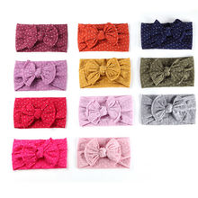 Newborn Headbands For Baby Girls Nylon Dots Print Bowknot Headwrap Infant Babies Princess Turban Hair Accessories(China)