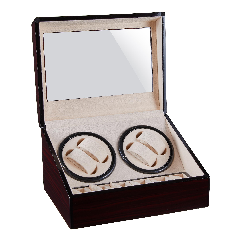 Vrai en bois automatique montre remontoir boîte montre remontoir rangement montre boîte Collection affichage Double tête silencieux moteur boîte