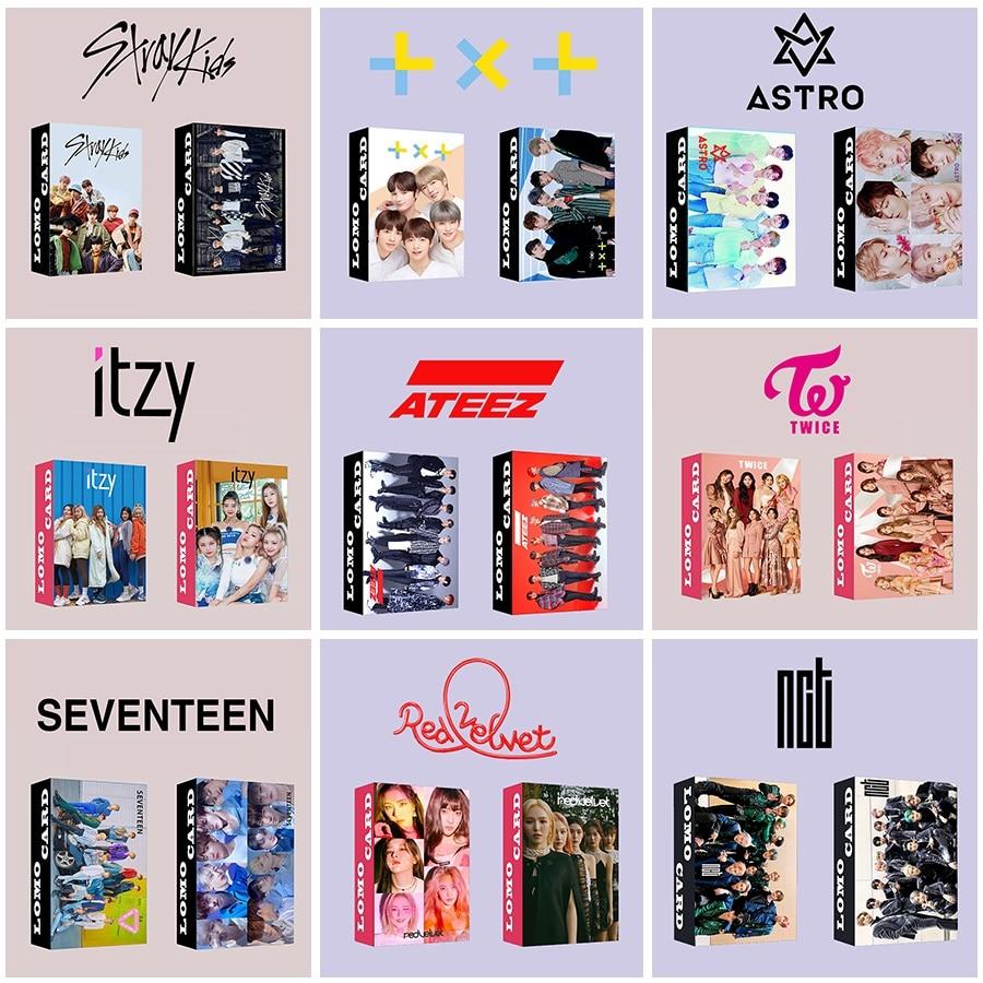 30pcs set Kpop ATEEZ Lomo card Stray kids GOT7 TWICE TXT NCT ITZY Photocard HD photo