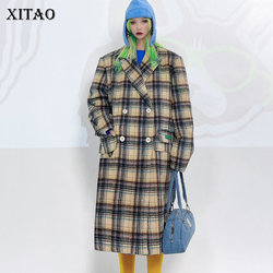 XITAO Plaid Pockets Double Breasted Blend Women 2020 Winter Casual Fashion New Style Temperament All Match Women Clothes DZL2447