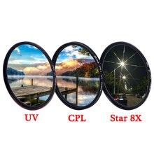 KnightX UV CPL ND Star line 4 6 8 ND2 ND1000 zmienny polaryzator makro obiektyw do lustrzanki cyfrowej filtr do aparatów canon nikon d5300 d3300 akcesoria