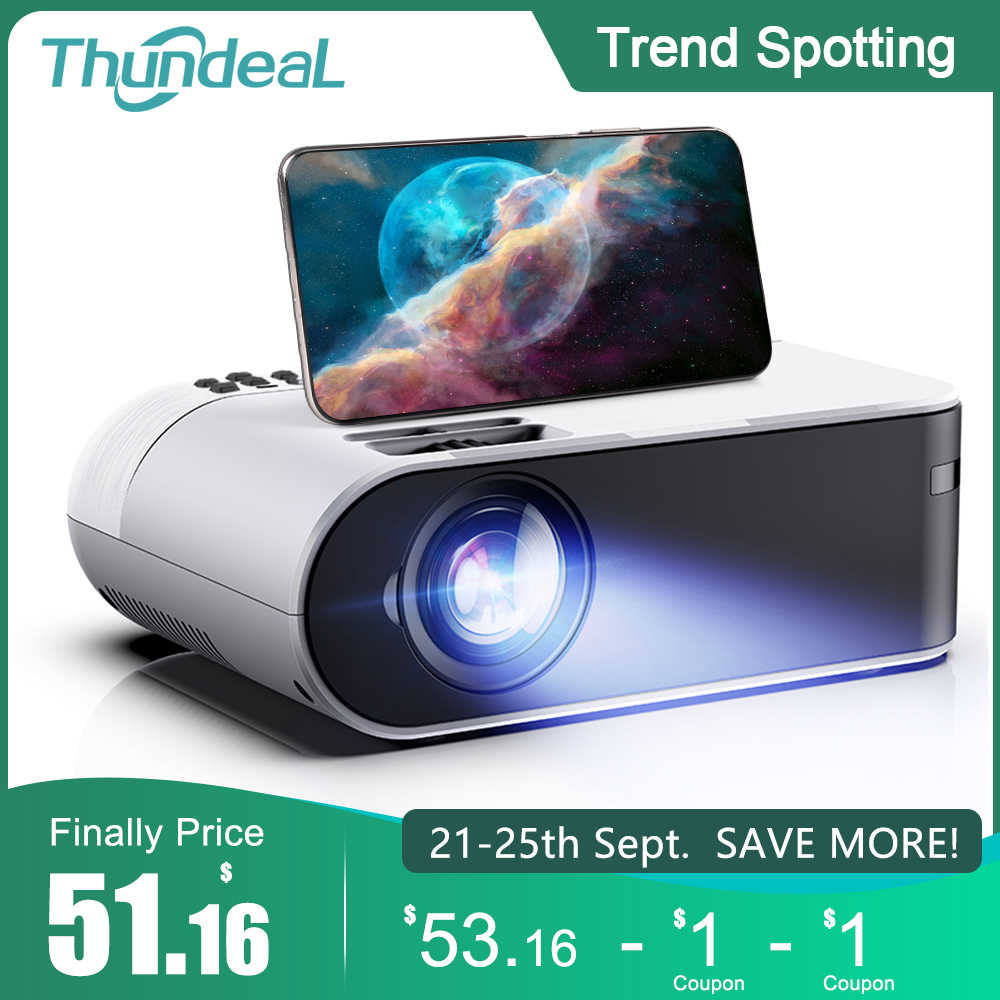 ThundeaL TD60 Mini projektör taşınabilir WiFi Android 6.0 ev sinema 1080P Video projektör 2400 lümen telefonu Video 3D beamer