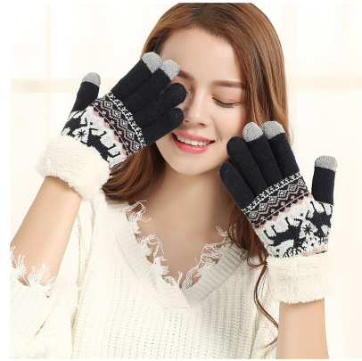 Snowflake Knitted Gloves Ladies Winter Plushed Thicken Double-layer Warm Touch Screen High Quality Fashion Accessories Gloves