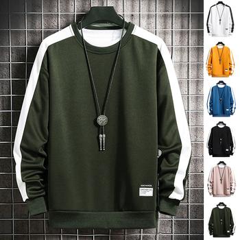 2020 moda bluzy Harajuku mężczyźni wiosenny i jesienny nowy 6 kolor bluza męska Casual O-Neck patchworkowa bluza dla młodych mężczyzn tanie i dobre opinie MANLUODANNI CN (pochodzenie) Pełna Japan style Stałe REGULAR sweatshirt men Brak STANDARD COTTON Poliester NONE