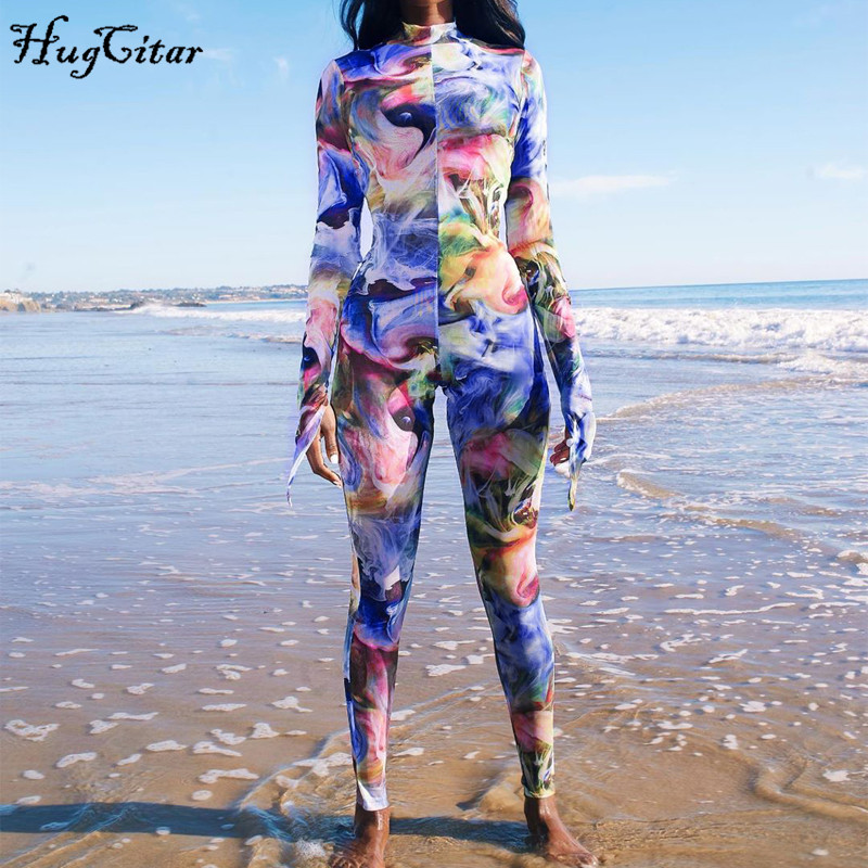 Hugcitar 2020 Long Sleeve Tie Dye Print Bodycon Jumpsuit Spring Women Streetwear Casual Outfits Sporty Body