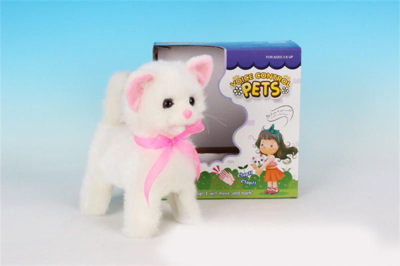 CHILDREN'S Electric Toys Dogs And Cats Electronic Pet Plush Toy Electric Voice Forward Round Steak Little White Cat