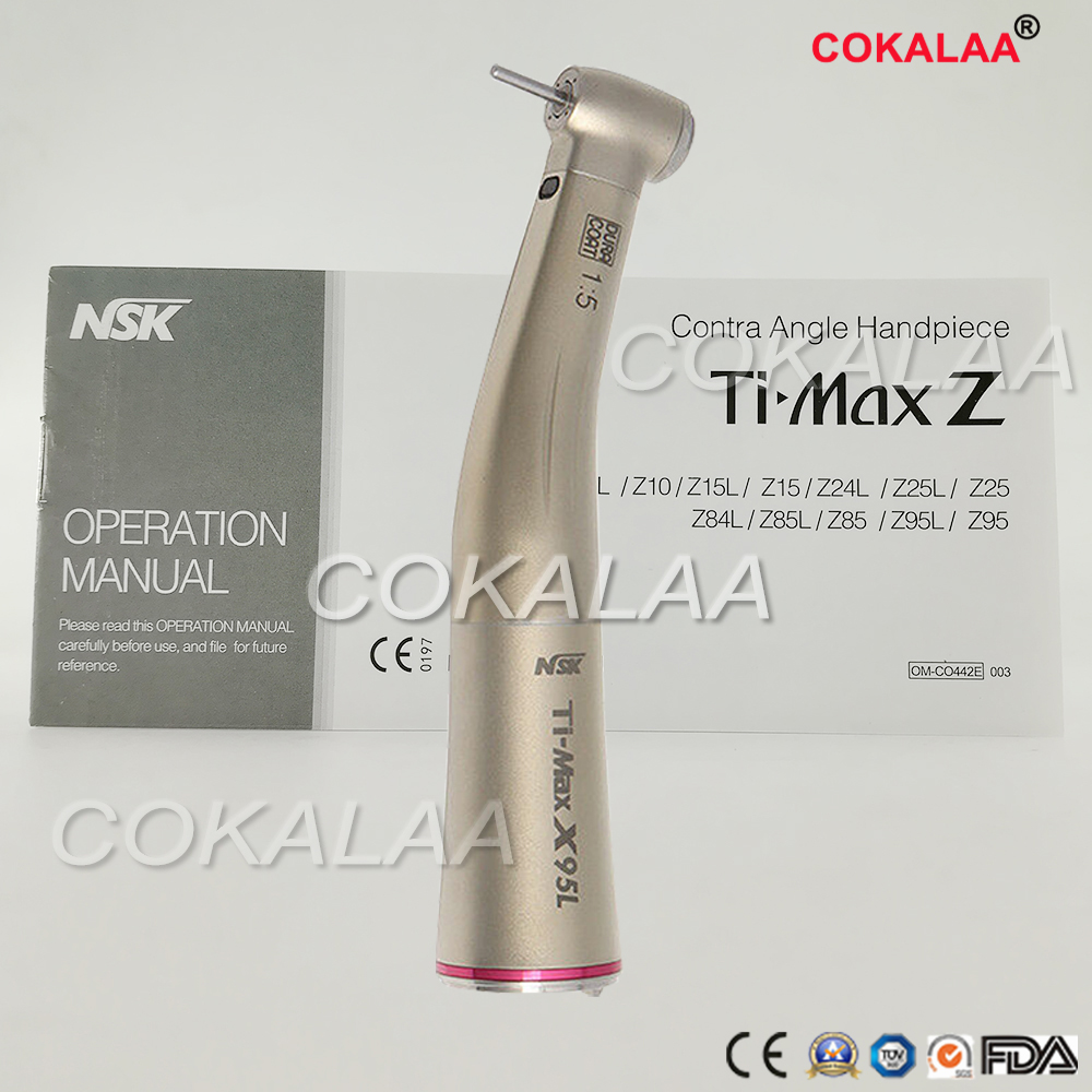 COKALAA DENTAL NSK TI MAX X95L Dental 1:5 Increasing Contra Angle Handpiece Red Ring Fiber Optic Handpiece Turbine