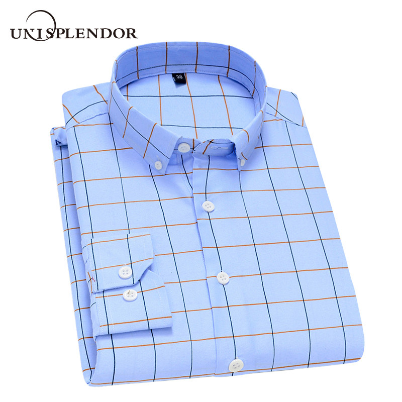 Unisplendor Spring Autumn Men's Shirts Casual Long Sleeve Men Clothing Casual Plaid Business Man Dress Shirt Soft Brand YN10541