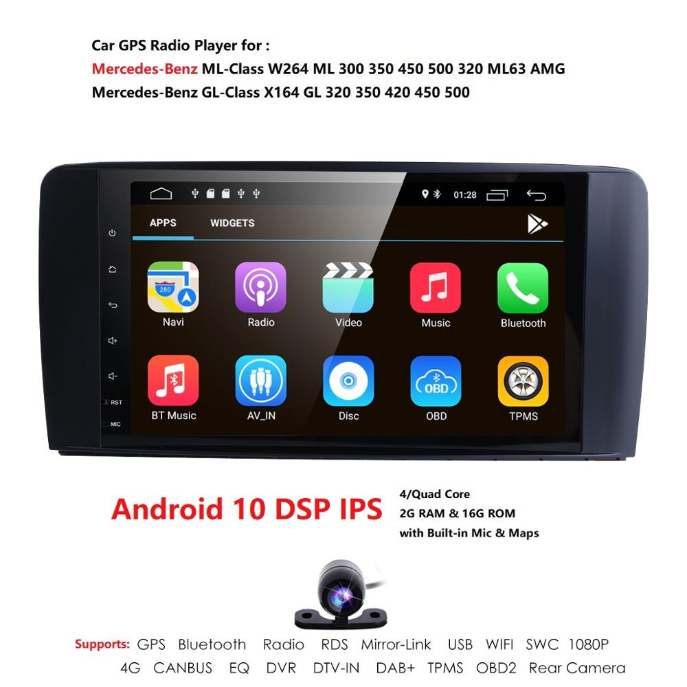 9 Big Screen Android 10 Car Radio GPS Stereo for Mercedes Benz ML-W164 GL-X164 DSP IPS Car Multimedia Player Bluetooth OBD CAM image