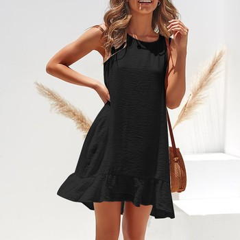 Ruffle Sexy Women Dress Fashion Sleeveless Solid Color Casual Pleated Loose Summer Dress Black Summer Dresses For Women 2021 1