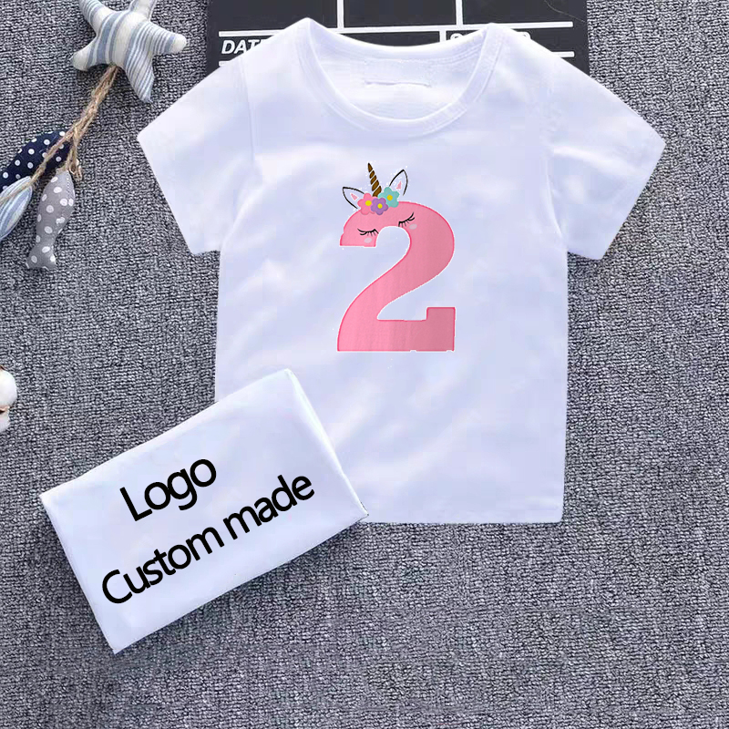 Girls <font><b>Birthday</b></font> Kids T Shirt Number 2-9 Letter Print <font><b>Tshirt</b></font> <font><b>Baby</b></font> Summer Cute Bow Clothes Funny Toddler Tops Children White Tees image
