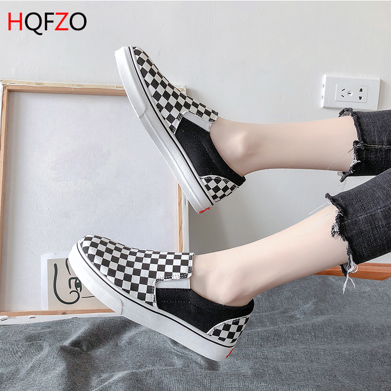 HQFZO Classics Black Trainers Casual Shoes Woman Vulcanize Checkered Canvas Shoes Female Sneakers Zapatos Slip On Tenis Feminino