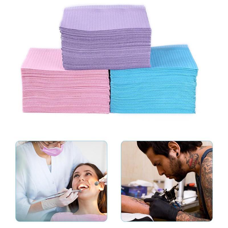 125pcs Disposable Waterproof Medical Paper Dental Hygiene Bib Neckerchief Safety Multilevel Hygiene Leak-proof Dental Oral Bib