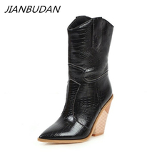 JIANBUDAN Womens Short boots Pointed Toe High heels High quality pu leather western boots Female leather boots Big Size 34 46