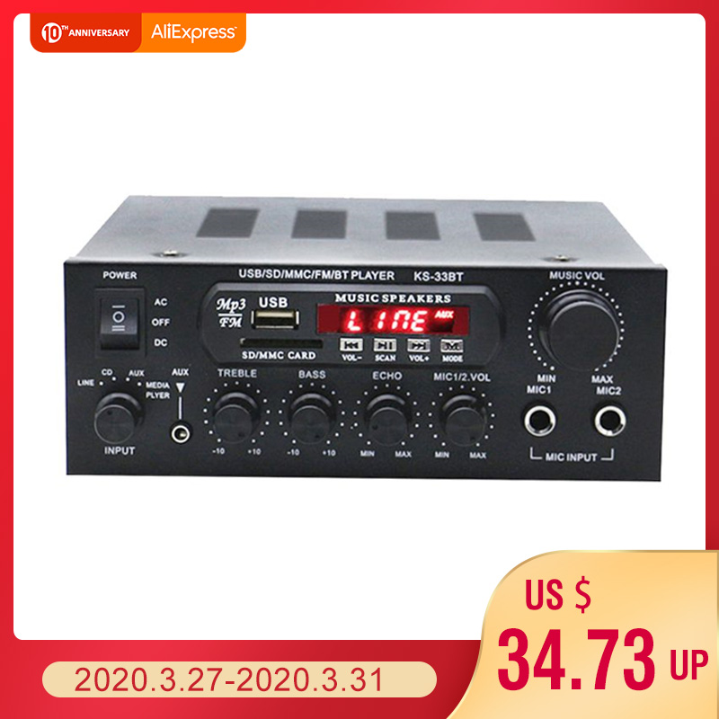 1000W <font><b>220V</b></font> <font><b>110V</b></font> Audio Power Amplifier Home Theater Amplifiers Audio with Remote Control Support FM USB SD Card bluetooth image