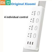 Original Xiaomi Mijia Power Streifen 4 Steckdosen 4 Individuelle steuerung Schalter 5V/2,1 A 3 USB port Erweiterung steckdosen Ladegerät 2m kabel