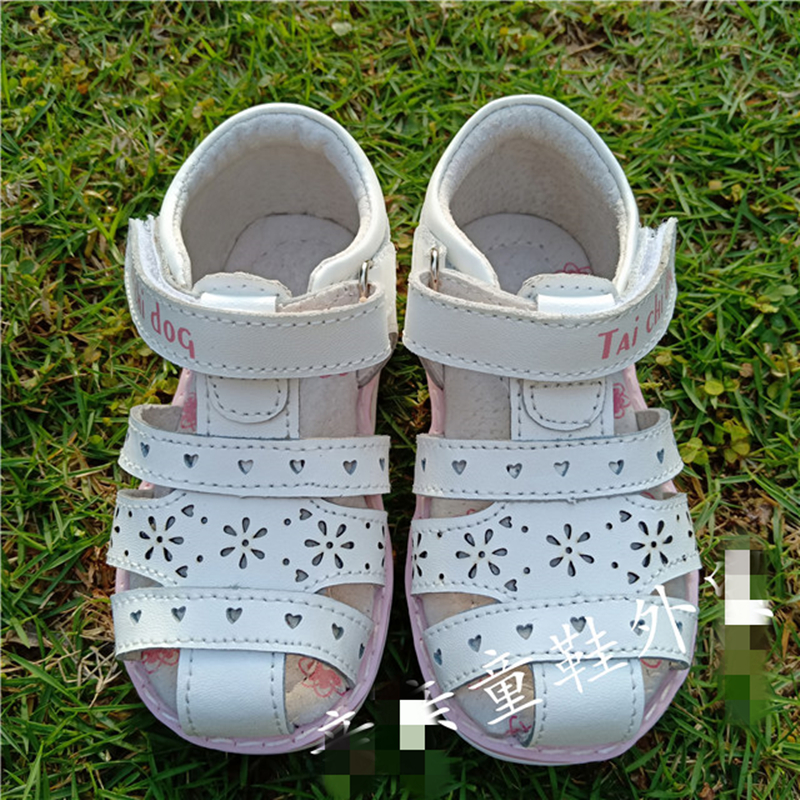 Summer 1pair White Genuine Leather Orthopedic Shoes Children Leather Sandals Girl Kids Sandals