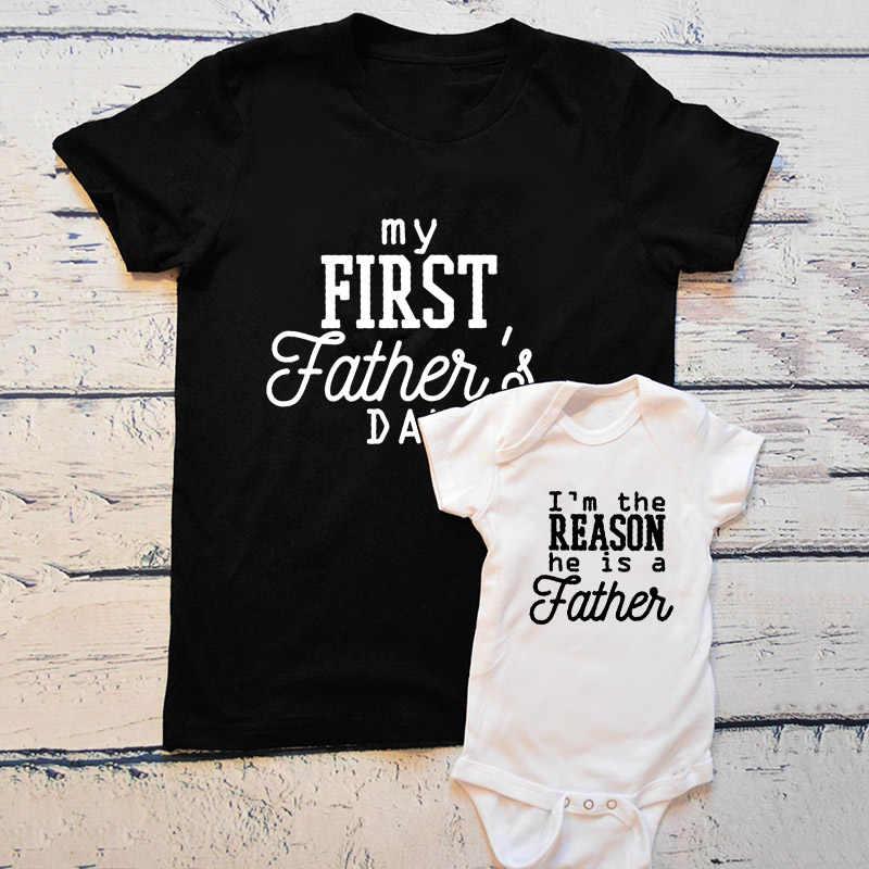 1 Pcs Hadiah Hari Ayah Pertama Hari Ayah Pakaian Ayah dan Bayi Kemeja Ayah dan Aku Yang Sesuai dengan Bayi anak Laki-laki Gadis Pakaian Keluarga T Shirt
