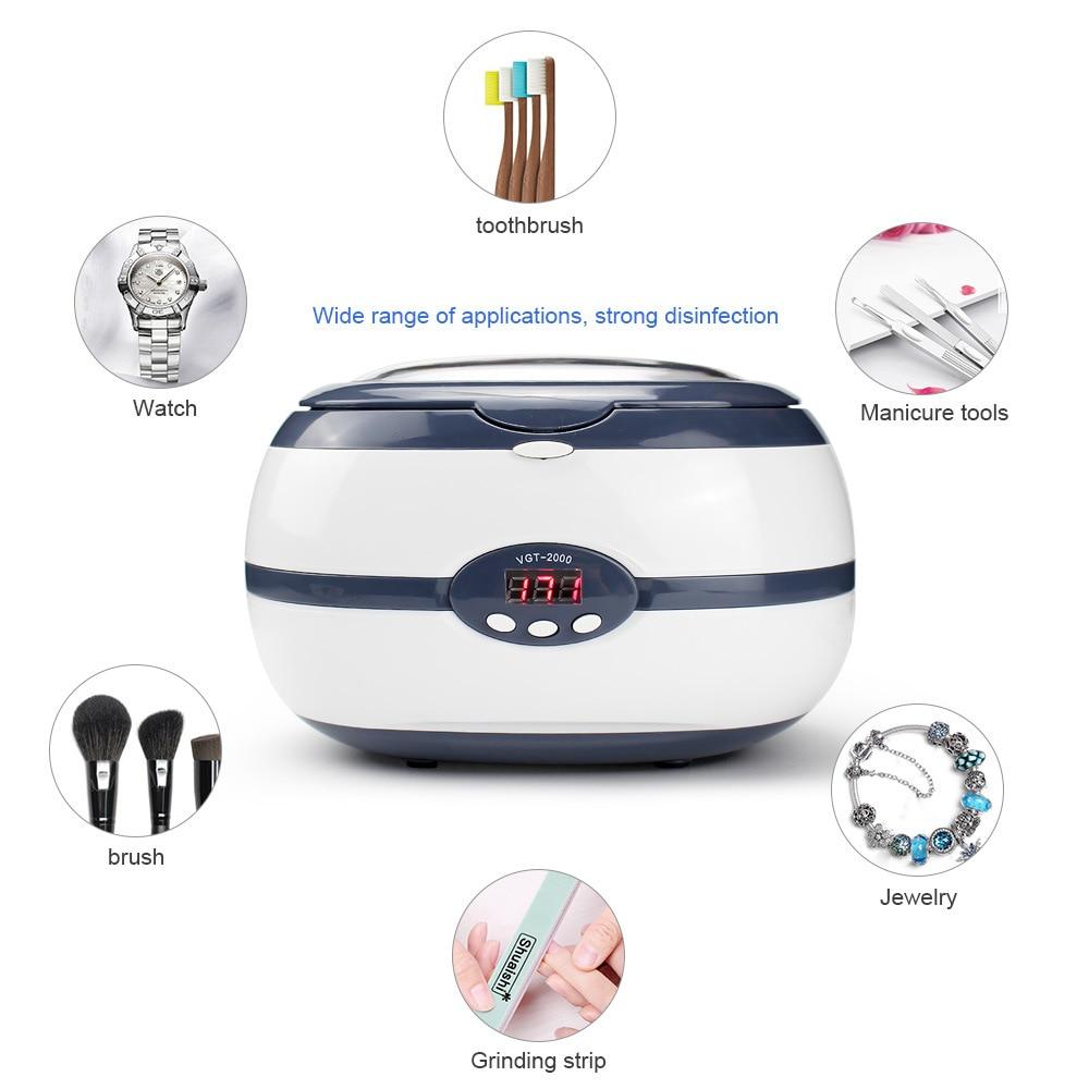 220V 600ml Ultrasonic Cleaner Bath Jewelry Parts Glasses Manicure Stones Cutters Dental Razor Brush Ultrasound Sonic Cleaner