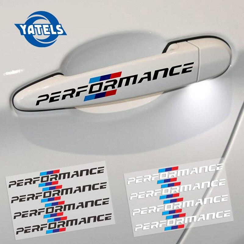 4PCS/LOT 2018 Car Styling Car Door Handle Car Stickers Performance Decoration For Bmw F30 F34 F10 E46 E39 E60 E90 E70 E71 X5 X6