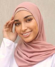 Kobiety Solid Color hidżab pałąk muzułmański szal szyfonowy miękkie zwykły szale okłady islamska chustka na głowę Foulard femmehidżab etole
