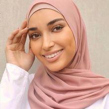Women Solid Color Hijab Headband Muslim Chiffon Scarf Soft Plain Shawls Wraps Islamic Headscarf Foulard FemmeHijab Stoles