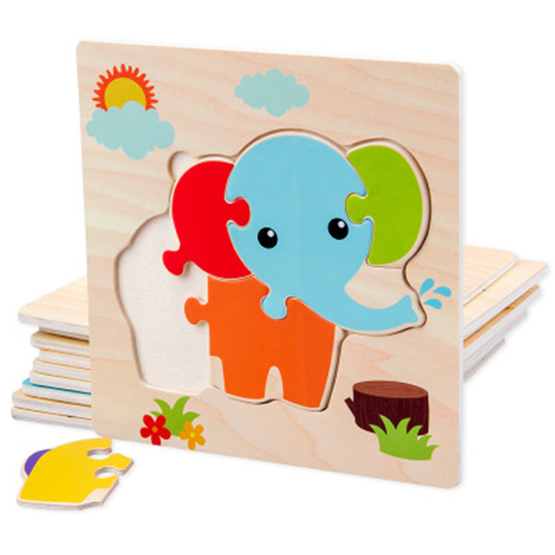 Baby Toys Wooden Puzzle Cute Cartoon Animal Intelligence Kid Early Educational Gift Brain Teaser Child Tangram Shape Jigsaw Gift