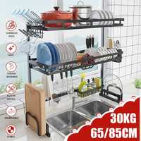 1/2 Layers Multi use Stainless Steel Dishes Rack Steady Sink Drain Rack Kitchen Organizer Rack Dish Shelf Sink Drying Rack Black|Racks & Holders| |  -