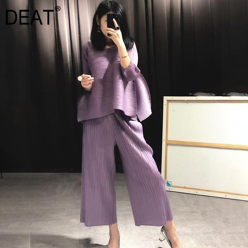 DEAT 2021 Neue Herbst Mode Frauen Kleidung Rundhals Ärmellose Pullover Kleid Und Breite Plissee Beine Pantes Vintage Set AT427