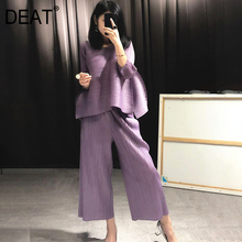 DEAT 2021 New Autumn Fashion Women Clothes Round Neck Sleeveless Pullover Dress And Wide Pleated Legs Pantes Vintage Set AT427