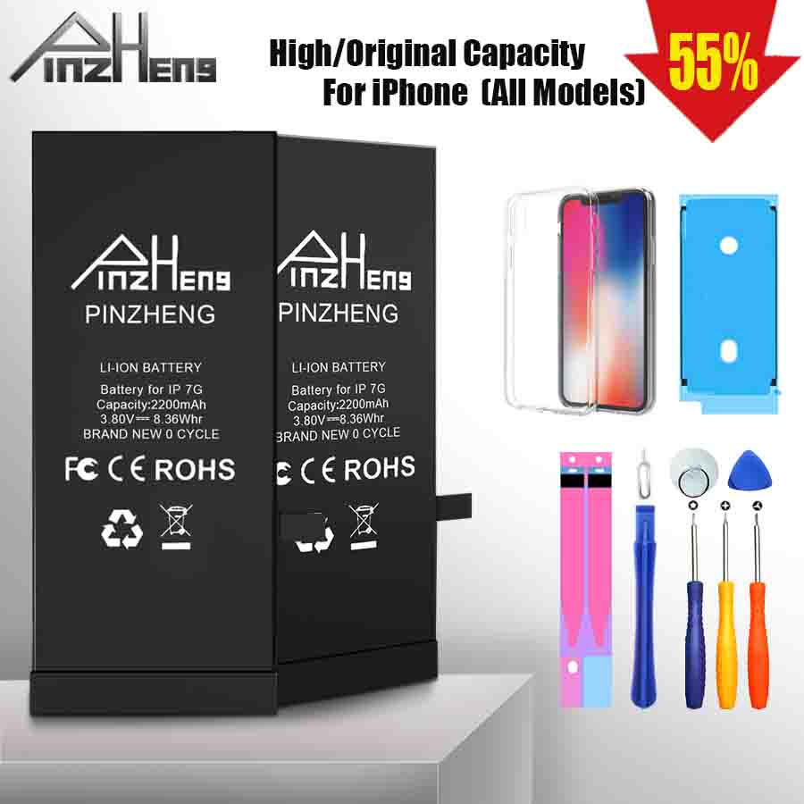 PINZHENG High Capacity Phone Battery For IPhone 6S 6 7 8 Plus X Replacement Battery For IPhone 5 5S 5C SE XR XS Max Batterie