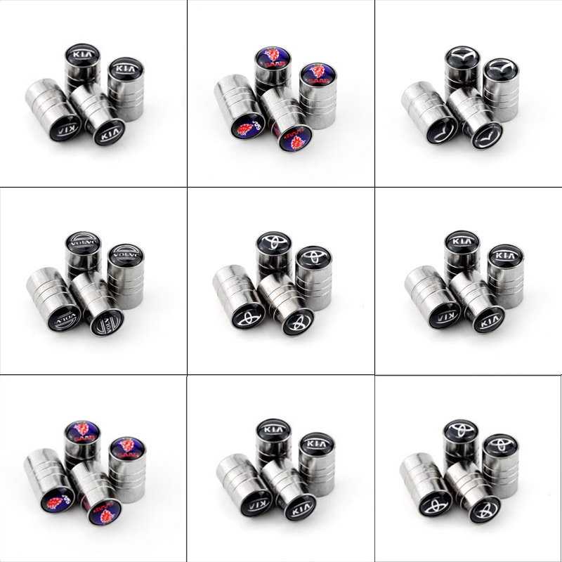 4pcs 3D Metal Wheel Tire Valve Caps Stem Case Car Styling For Saab Benz Mazda Opel Toyota Chevrolet Audi Bmw Kia Car Accessories