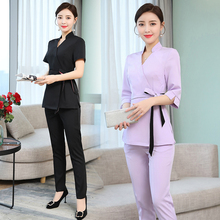 Beauty salon work clothes new beautician technician temperament suit health club pedicure pants elastic