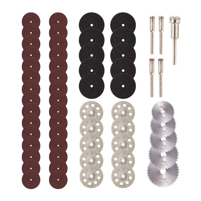 GTBL 60Pcs Cutting Wheel Set 1/8 Inch Shank Diamond Cutting Wheel, Mini HSS Saw Blades, Resin Cutoff Disc Combo Cutter Kit With