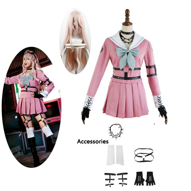 Danganronpa V3 Killing Harmony Iruma Miu Cosplay Costume Props Anime Game Woman Girls party dress School Uniform outfit and wig