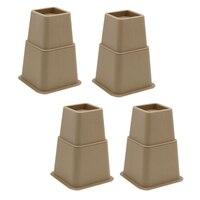 Pacote de 8 peças de cama resistente risers móveis elevadores de cama  altura ajustável 3/5/8 Polegada  armazenamento adicional em casa| |   -