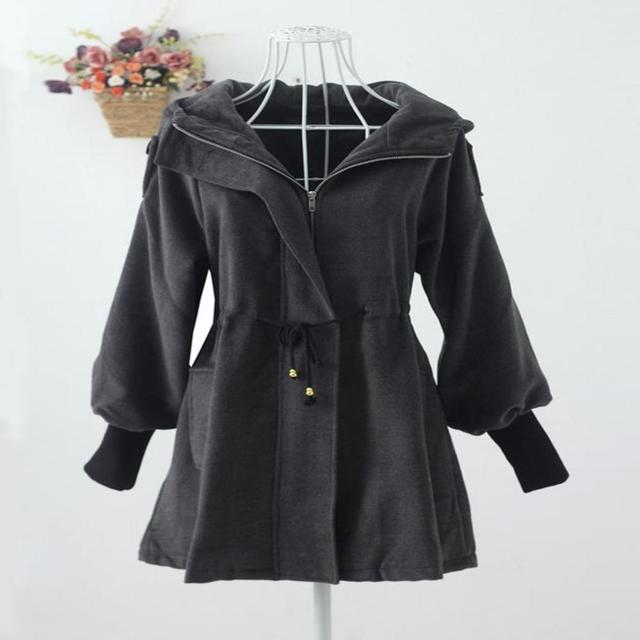 Woman Autumn Gray Plus Size 20% Woolen Thick Loose Outerwear Female Winter Oversized Hooded Warm Overcoat Lady Plus Velvet