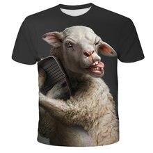 2021 nova camisa de verão t men streetwear engraçado ovelhas manga curta camisetas topos animal roupas masculinas casuais impressão 3d tshirt