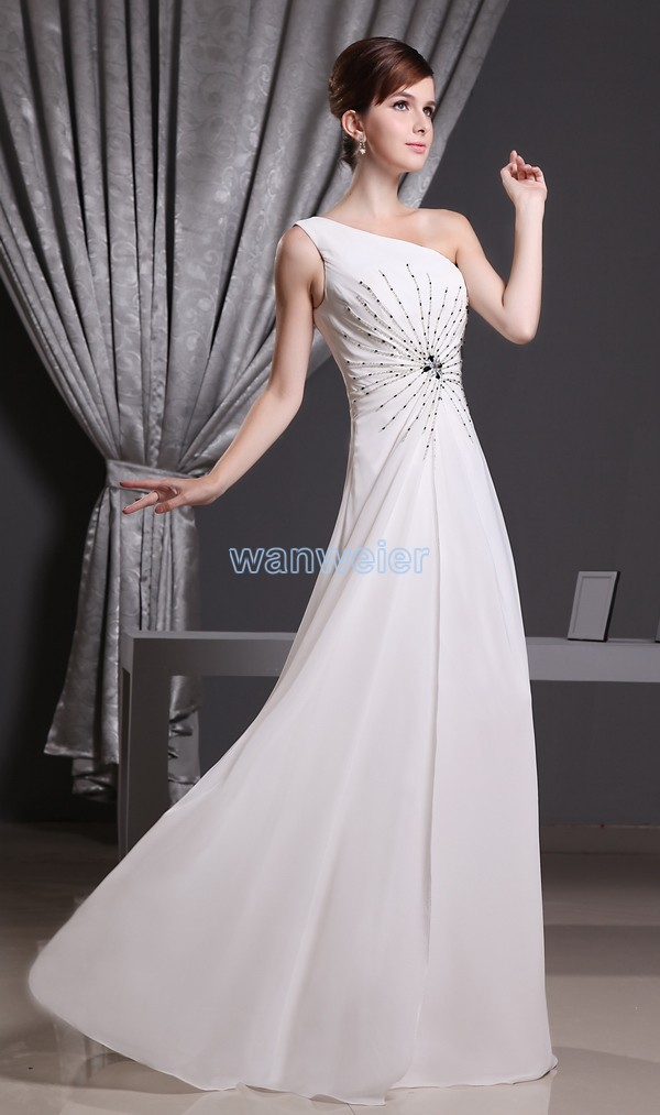 free shipping 2016 hot sale special occasion dress mermaid formal custommade size/color white one shoulder chiffon evening dress