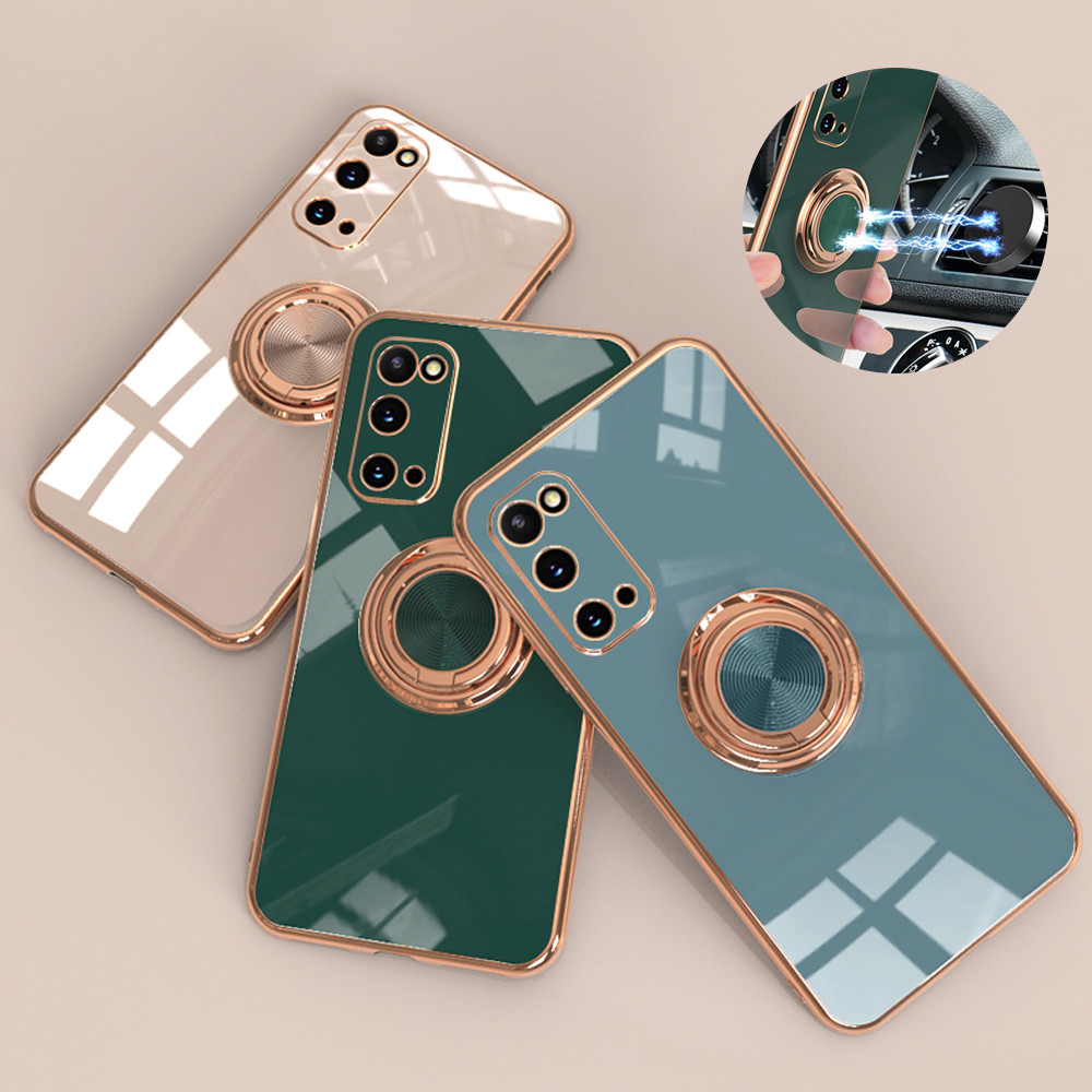 Electroplate Soft Silicone Phone Case For Samsung S20 FE S21 Plus With Magnetic Ring Holder Stand Cover For Galaxy S21 S20 Ultra