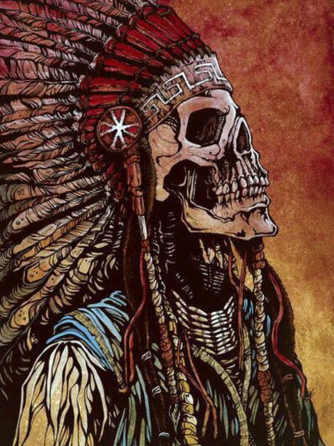 Painting By Numbers Skeleton Chief Indian Gothic Fantasy Horror