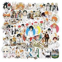 10/50 Uds Anime japonés el prometido nunca jamás calcomanías para cuadernos de ordenador de monopatín del teléfono móvil de juguete de dibujos animados