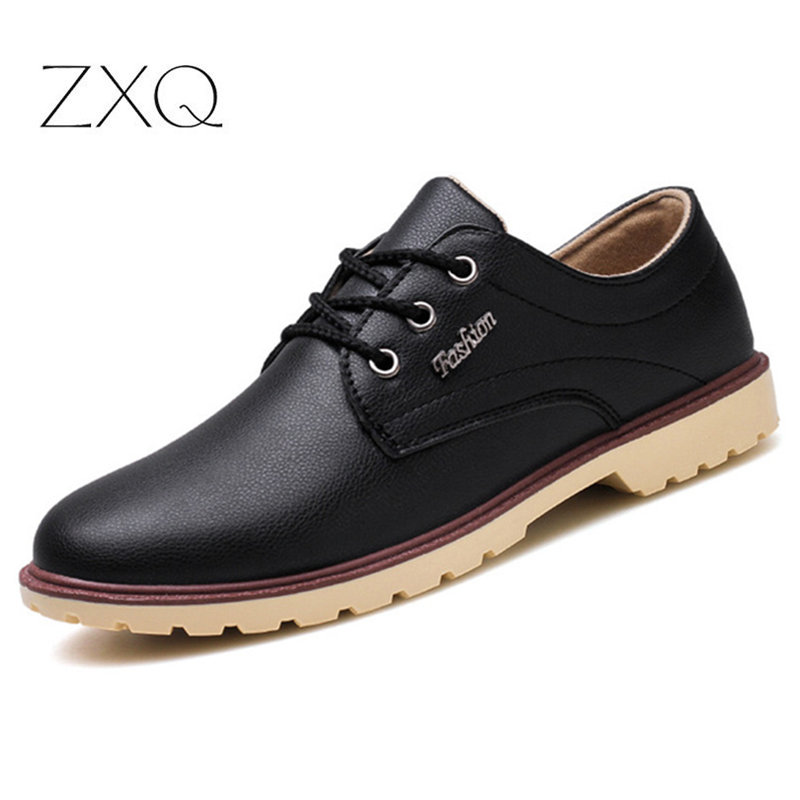 Men Office Shoes Black Brown Oxford Shoes Lace Up Men Leather Dress Shoes Pointed Toe Business Formal Shoes