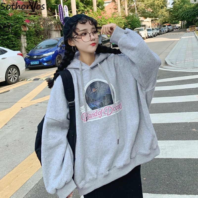 Hoodies Women Pullovers Plus Velvet Warm Loose Korean Version Womens BF Chic Students Sweatshirts Leisure Elegant Female Daily