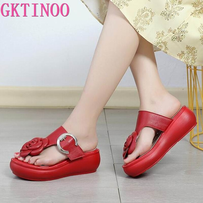 GKTINOO Women Flat Platform Sandals 2020 Summer Genuine Leather Handmade Shoes Women Summer Sandals Slip On Ladies Shoes Sandal
