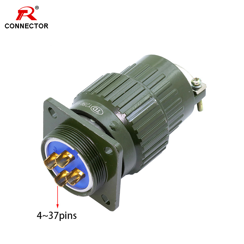 1set Y28M Military Aviation Connector  Green Color XLR Connector  4 37 Pins available  Power Connecting/Signal Transmission|Connectors| |  - title=