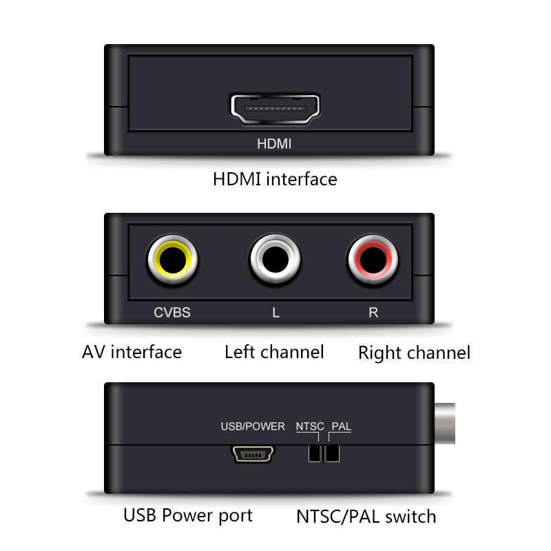 HDMI إلى AV قشارة محول HD فيديو محول صندوق HDMI إلى RCA AV/CVSB L/R فيديو 1080P HDMI2AV دعم NTSC PAL بالجملة