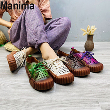 2020 new summer women's shoes flat sandals women casual breathable leather flat shoes women round head thick bottom shoes women europe america new mesh breathable sneakers women s solid color round head shallow mouth casual thick bottom laceup single shoes