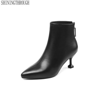 2020 Genuine Leather Thin High Heel Fashion Women Shoes Ankle Boots Autumn Winter Shoes Women Ankle Boots Size 34-43